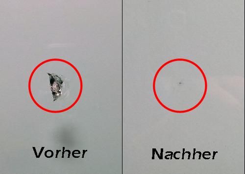 Ein Steinschlag in der Windschutzscheibe vor der Reparatur und nach der Reparatur bei Autoglas Kahmann.